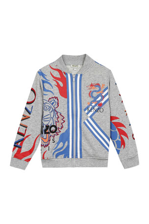 Kenzo Boy's Multi-Iconic Tiger & Dragon Zip-Front Jacket, Size 2-6 Boy's Multi-Iconic Tiger & Dragon Zip-Front Jacket, Size 8-12