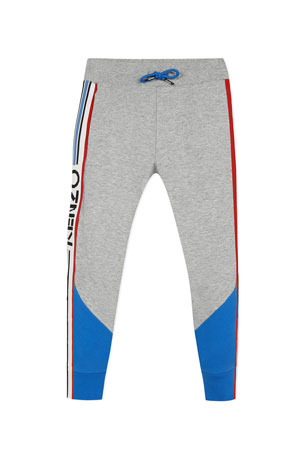 Kenzo Boy's Logo Taping Fleece Jogger Pants, Size 2-6 Boy's Logo Taping Fleece Jogger Pants, Size 8-12
