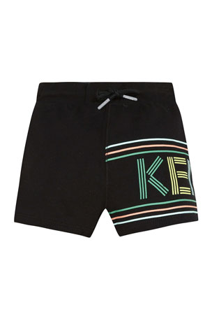 Kenzo Boy's Wrapped Logo Graphic Fleece Shorts, Size 4-6 Boy's Wrapped Logo Graphic Fleece Shorts, Size 8-12