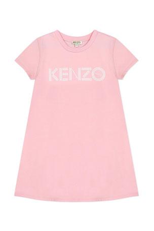 Kenzo Girl's Logo Print A-Line Dress, Size 2-6 Girl's Logo Print A-Line Dress, Size 8-12