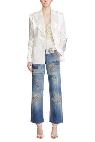 Ralph Lauren Collection Leslie Satin Blazer Jacket Collisa Silk Lace Peplum Blouse