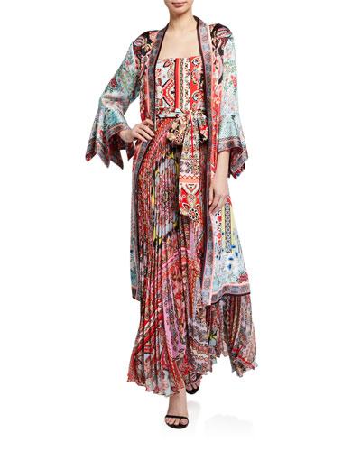 Lynn Reversible Side-Slit Long Kimono
