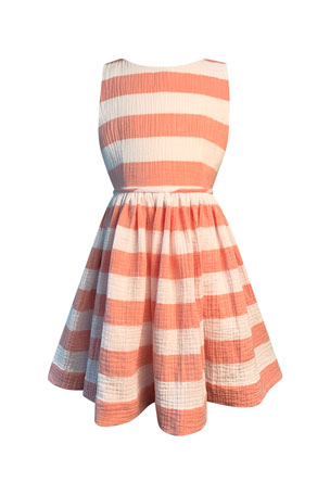Helena Girl's Horizontal Stripe Cotton Gauze Dress, Size 3-6 Girl's Horizontal Stripe Cotton Gauze Dress, Size 7-14