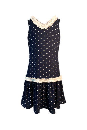Helena Girl's Polka-Dot Ruffle-Trim Sleeveless Dress, Size 4-6 Girl's Polka-Dot Ruffle-Trim Sleeveless Dress, Size 7-14