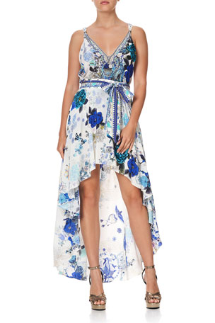 Camilla Printed Tank Top w/ Beaded Straps Printed High-Low Wrap Coverup Skirt