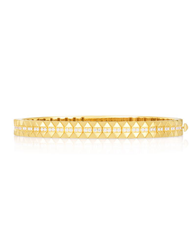 Rock and Diamonds 18k Yellow Gold Diamond Bangle Bracelet  48x58mm and Matching Items