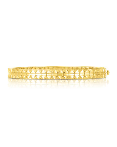 Rock and Diamonds 18k Yellow Gold Bangle Bracelet  48x58mm and Matching Items