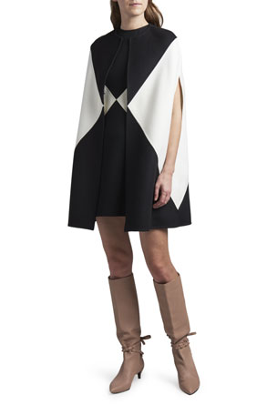 Valentino Colorblocked Wool-Cashmere Sleeveless Cape Colorblocked Crepe Short-Sleeve Dress