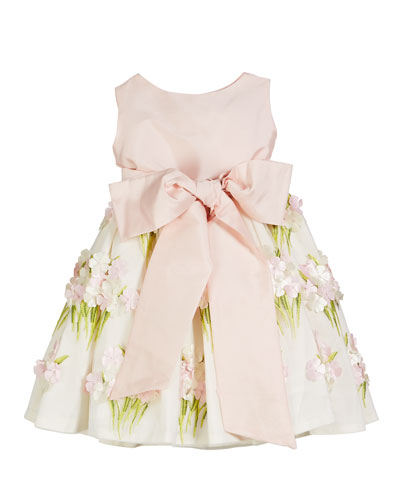Solid Bow Front Dress w/ Floral Bouquet Skirt  Size 12M-4T  and Matching Items