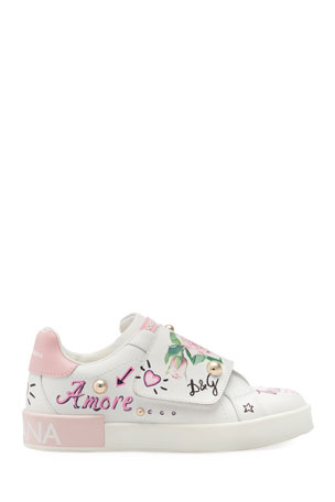 Dolce & Gabbana Floral Print Grip-Strap Leather Sneakers, Kids Floral Print Grip-Strap Leather Sneakers, Toddler/Kids