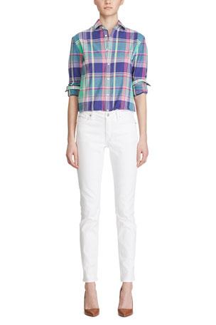 Ralph Lauren Collection Hannah Madras-Plaid Poplin Shirt, Green 160 Skinny Denim Jeans