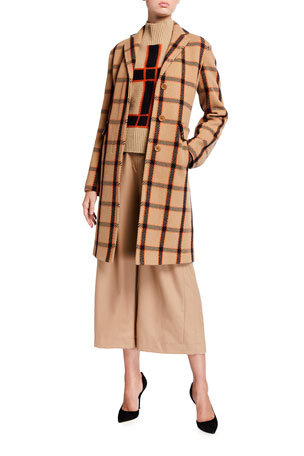 Akris punto Tricotine Window Check Tweed Blazer Coat Check Wool-Cashmere Turtleneck Sweater Fiorella Wool Belted Wide-Leg Pants