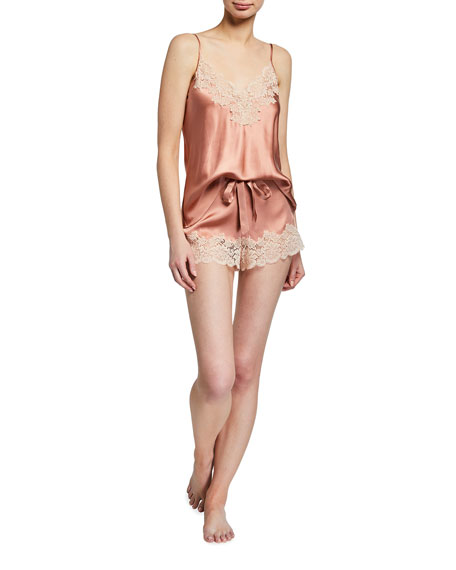 Ginia Pick-and-Mix Lace-Trim Silk Camisole