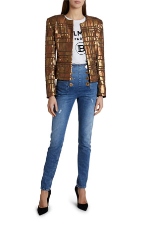 Balmain High-Rise 8-Button Vintage Skinny Jeans