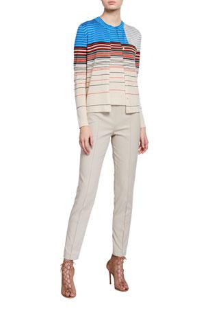 Akris Horizontal Stripe Button-Front Cardigan Horizontal Stripe Cashmere Tank