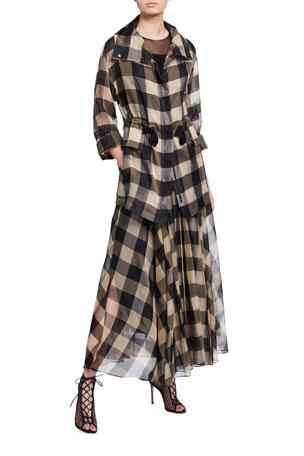 Akris Checked Silk Zip-Front Jacket Sheer Neckline Sleeveless Top Full Check High-Waist Silk Skirt