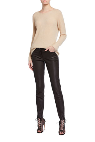 Akris Cashmere Fluffy-Knit Illusion Sweater Magda Slim Napa Leather Pants