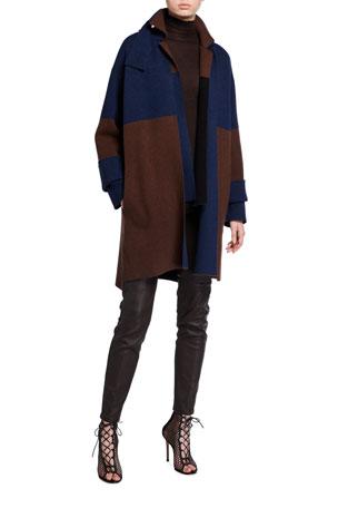 Akris Mock-Neck Seamless Fine Rib Sweater Reversible Colorblock Tab-Closure Cashmere Jacket Cashmere Two-Tone 3/4-Sleeve Kimono Jacket