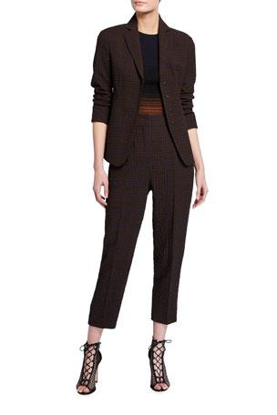 Akris Plaid Seersucker Four-Button Fitted Blazer Gradient Striped Short-Sleeve Sweater Fedora Plaid Seersucker Crop Pants
