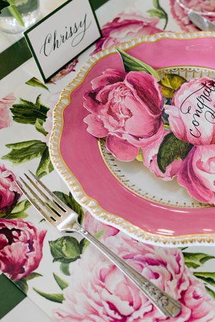 Hester & Cook Peonies in Bloom Placemats Blooming Peonies Tablescape Collection Dark Green Classic Stripe Table Runner
