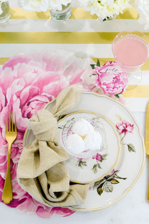 Hester & Cook Peony Placemats Peony Tablescape Collection