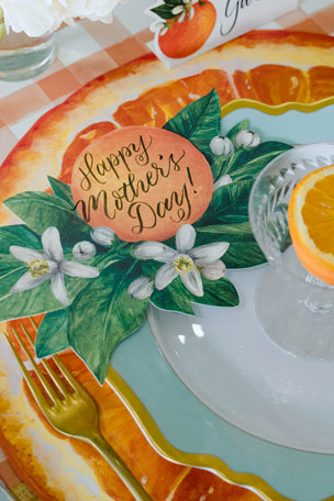 Hester & Cook Orange Orchard Tablescape Collection Orange Slice Placemats Orange Painted Check Table Runner