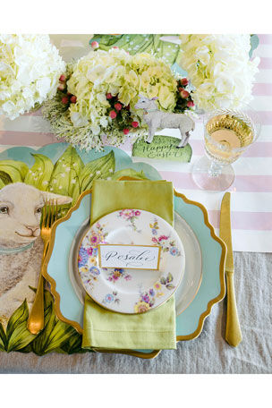 Hester & Cook Little Lamb Placemats Baby Tablescape Collection Pink Classic Stripe Paper Table Runner