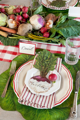 Hester & Cook Cabbage Placemats Farmers Market Tablescape Collection Red Painted Check Table Runner