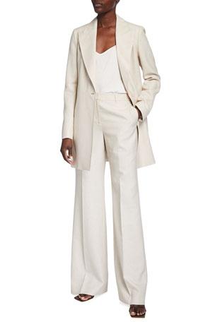Lafayette 148 New York Kourt Italian Weave Jacket Dalton Wide-Leg Italian Weave Pants
