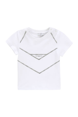 Givenchy Boy's Mini Me V-Cut Logo T-Shirt, Size 12-18 Months Boy's Mini Me V-Cut Short-Sleeve Logo T-Shirt, Size 2-3