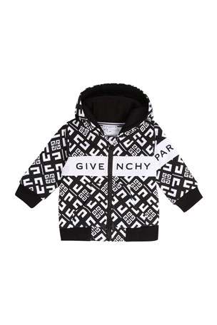 Givenchy Boy's 4G Zip-Front Hooded Logo Cardigan, Size 12-18 Months Boy's 4G Zip-Front Hooded Logo Cardigan, Size 2-3