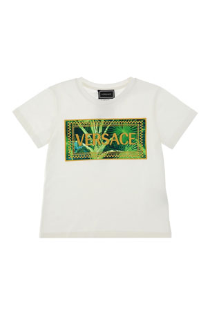 Versace Jungle-Print Graphic Tee, Size 4-6 Jungle-Print Graphic Tee, Size 8-14