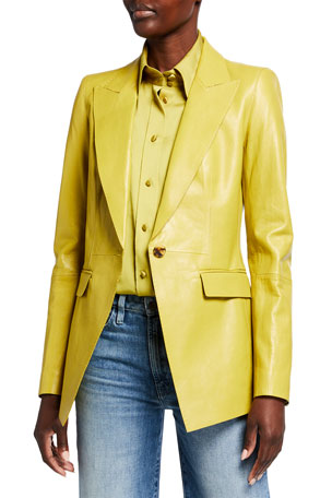Lafayette 148 New York Royer Weightless Glazed Lambskin Blazer Harbison Carlisle Cloth Button-Front Blouse