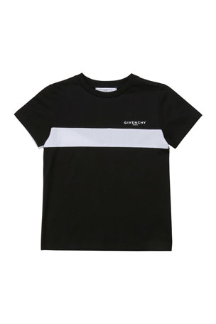 Givenchy Boy's Logo Above Chest Stripe T-Shirt, Size 12-14 Boy's Chest Stripe Logo T-Shirt, Size 4-10