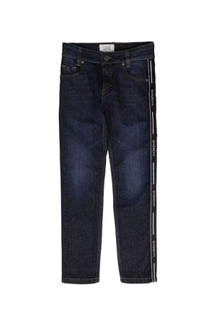 Givenchy Boy's Slim Fit Denim Jeans w/ Logo Side Tape, Size 4-10 Boy's Slim Fit Denim Jeans w/ Logo Side Tape, Size 12-14