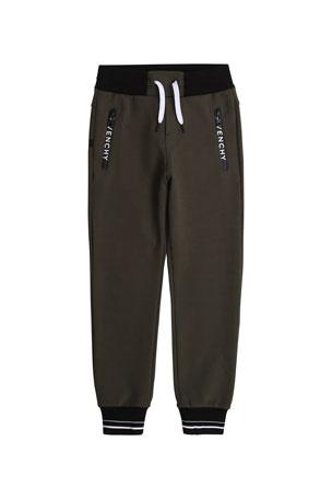 Givenchy Boy's Striped Rib Cuff Jogger Pants w/ Zip Pockets, Size 4-10 Boy's Striped Rib Cuff Jogger Pants w/ Zip Pockets, Size 12-14