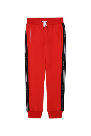 Givenchy Boy's 2-Pocket Jogger Pants w/ Logo Side Bands, Size 4-10 Boy's 2-Pocket Jogger Pants w/ Logo Side Bands, Size 12-14