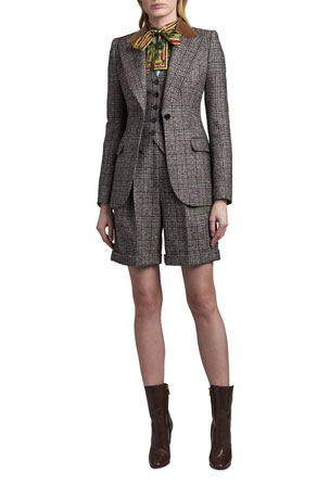 Dolce & Gabbana Tartan Plaid Wool-Blend Jacket Gourd-Print Balloon-Sleeve Silk Blouse Tartan Top with Contrast Back