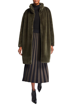 Akris punto Faux Fur Chunky Coat Ribbed Mock-Neck Wool Sweater Contrast Stripe A-line Skirt
