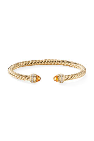 David Yurman 18k Gold Cable Bracelet w/ Diamonds & Citrine, Size S 18k Gold Cable Bracelet w/ Diamonds & Citrine, Size M