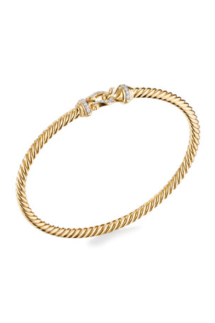 David Yurman 18K Gold Buckle Bracelet with Diamonds, Size L 18K Gold Buckle Bracelet with Diamonds, Size S