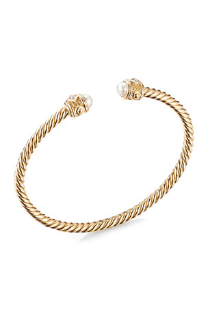 David Yurman 18K Renaissance Bracelet with Pearls and Diamonds, Size 18K Renaissance Bracelet with Pearls and Diamonds, Size 18K Renaissance Bracelet with Pearls and Diamonds, Size S