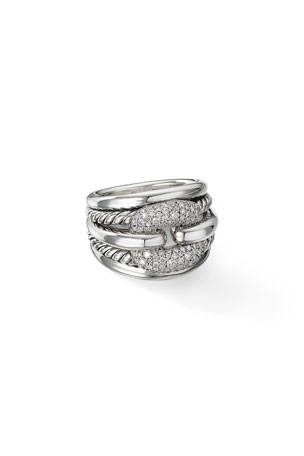 David Yurman Thoroughbred Cushion Link Ring with Diamonds, Size 9 Thoroughbred Cushion Link Ring with Diamonds, Size 6