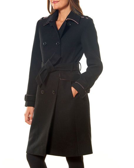 kate spade new york double-breasted wool-blend trench coat