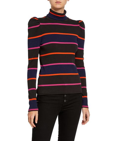 Veronica Beard Cedar Stripe Puff-Sleeve Turtleneck Top