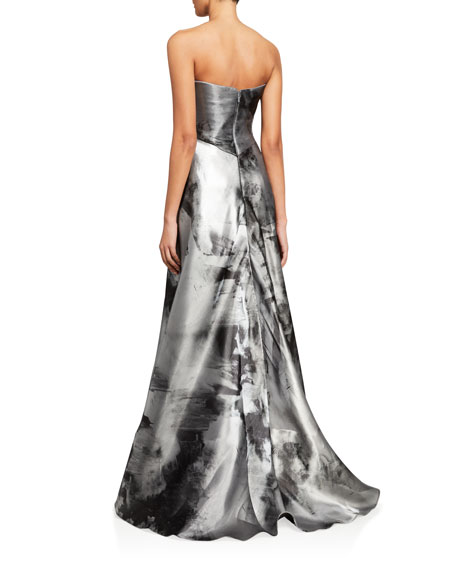 Rene Ruiz Asymmetric Bustier A-Line Gown