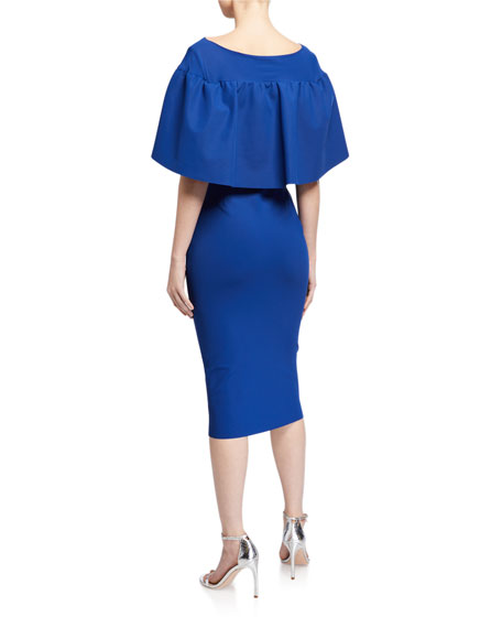 Chiara Boni La Petite Robe High-Neck Short-Sleeve Cape Dress