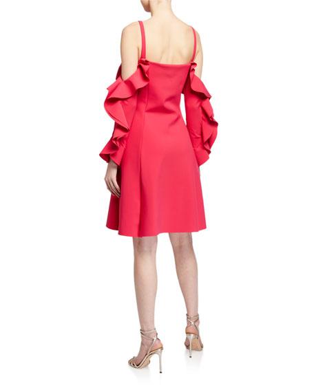 Chiara Boni La Petite Robe Ruffle-Neck Cold-Shoulder A-Line Dress