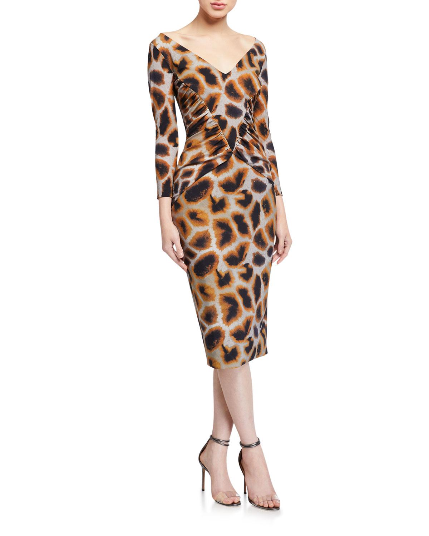 Chiara Boni La Petite Robe Animal Print V-Neck 3/4-Sleeve Side-Shirred Dress