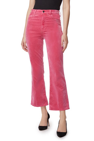 J Brand Julia High-Rise Velvet Flare Pants